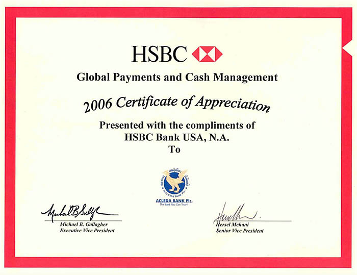 Certificate of Appreciation for Global Payments and Cash Management