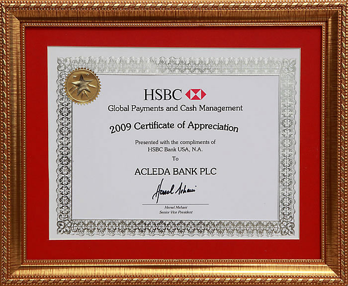 2009 Certificate Of Appreciation From Hsbc Bank