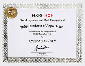 2009 certificate of appreciation from hsbc bank yadclub Choice Image